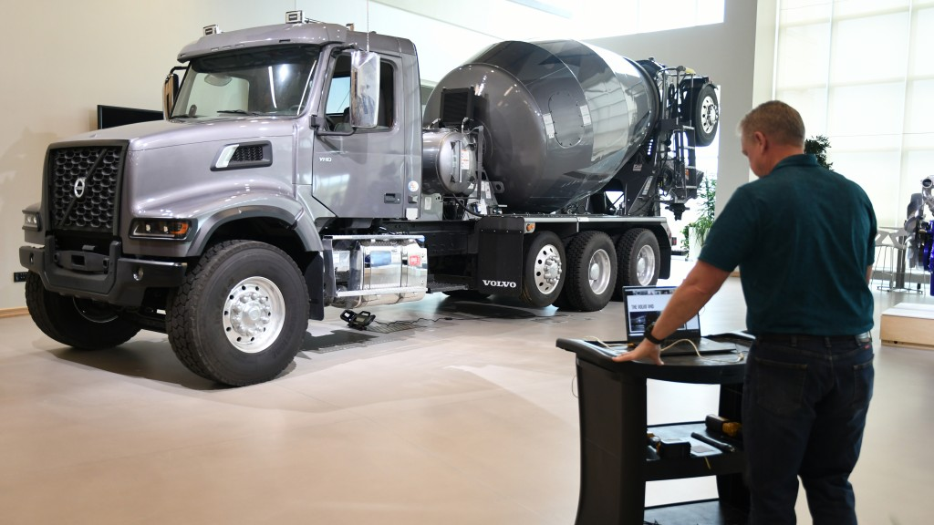 volvo customer center technician performs virtual walk around of a volvo vhd