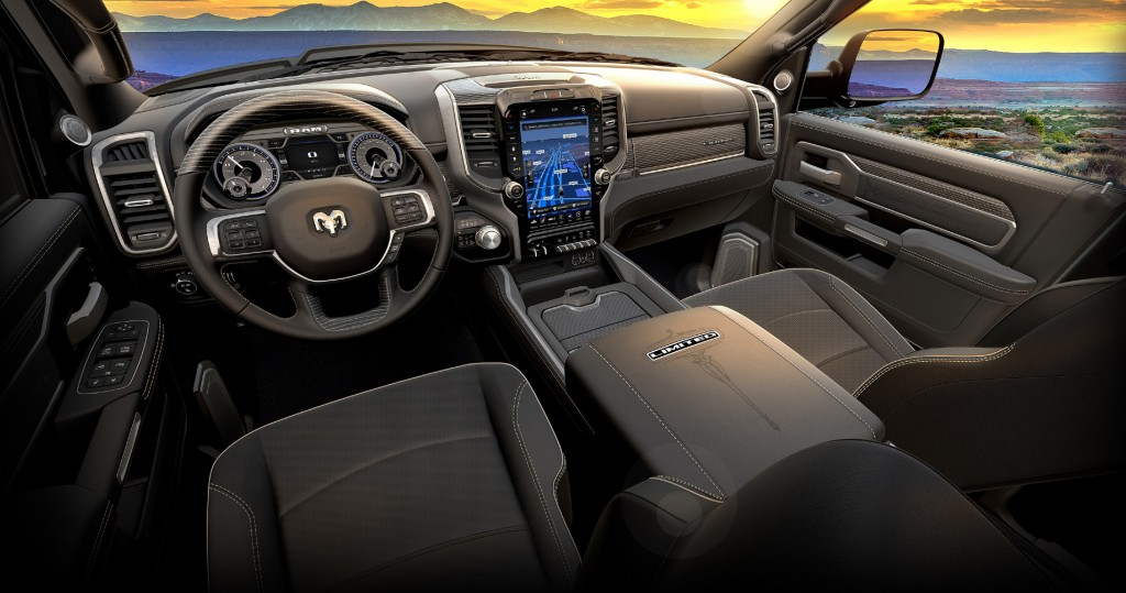 All-black interior of a Ram Heavy Duty Limited Black pickup