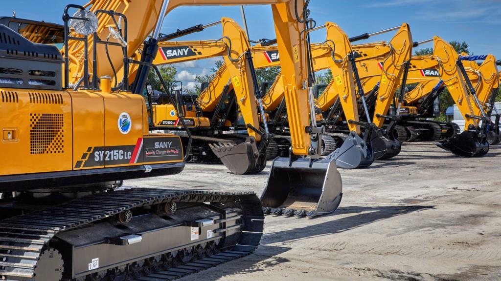 multiple excavators from Sany