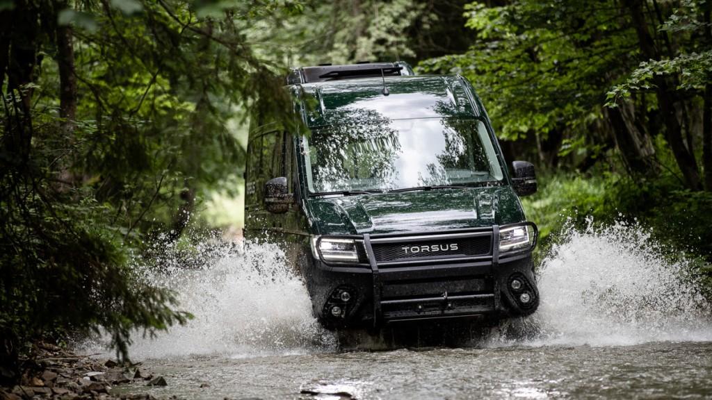 TORSUS TERRASTORM Van configuration going through a giant puddle