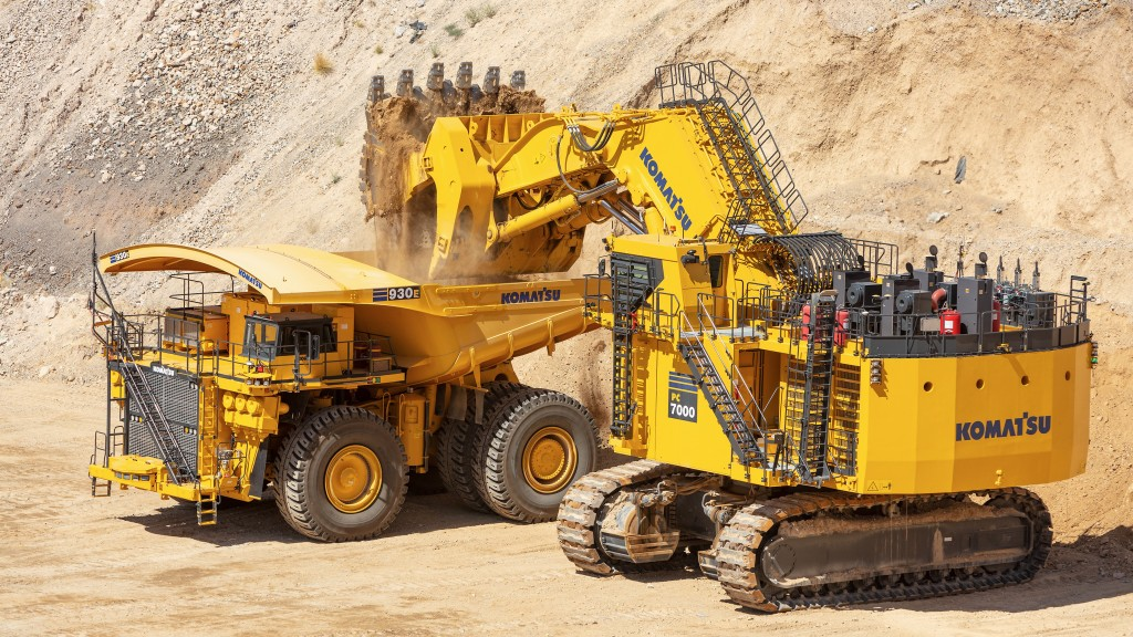 Komatsu AHS mining vehicle in a mine