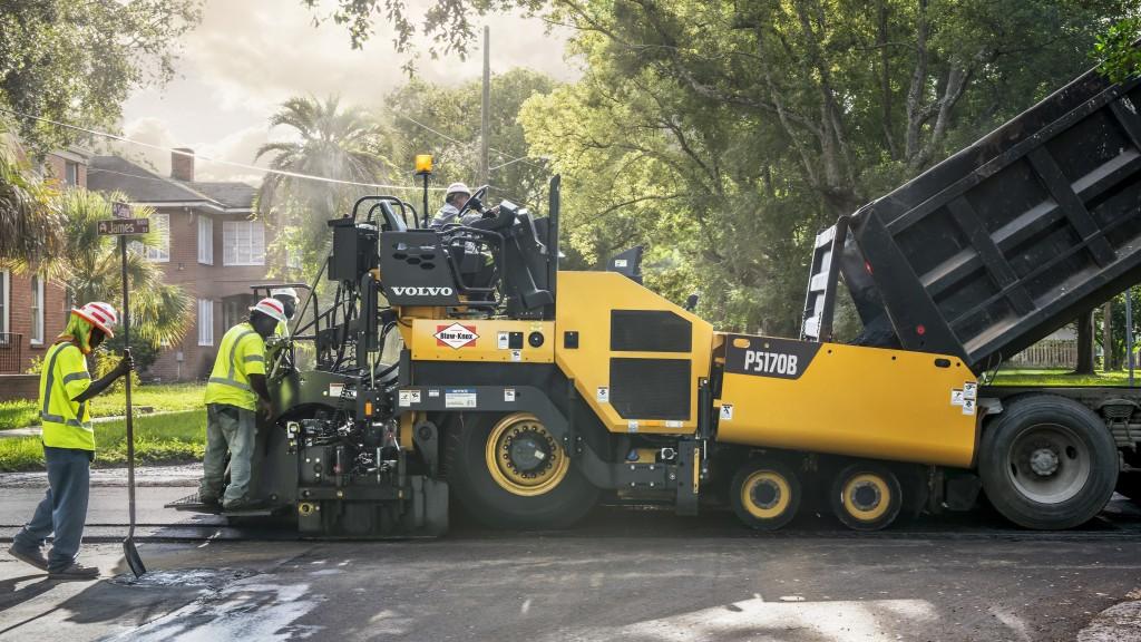 workers using Volvo Blaw-Knox Knox P5170B paver on a street