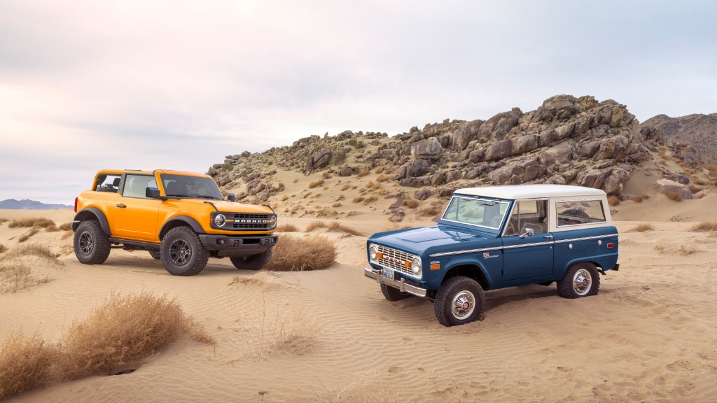 The 2021 Ford Bronco takes cues from the classic design and ruggedness of the first-generation sport-utility vehicle.