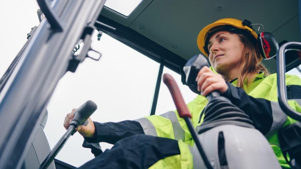 female heavy equipment operator