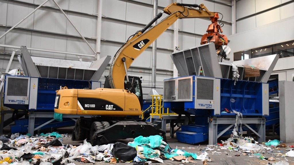 material handler working in a recycling plant