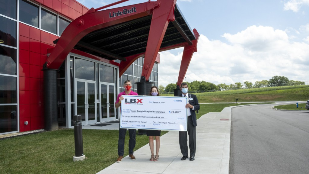 lbx yesmamm check presentation in front of LBX facility