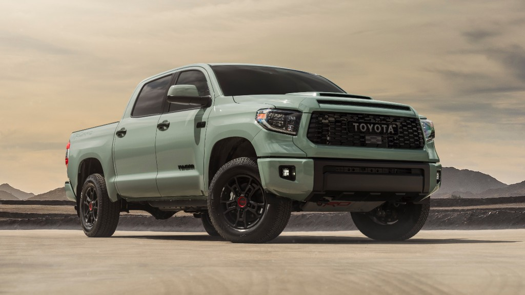 The 2021 Toyota Tundra TRD Sport in Lunar Rock.