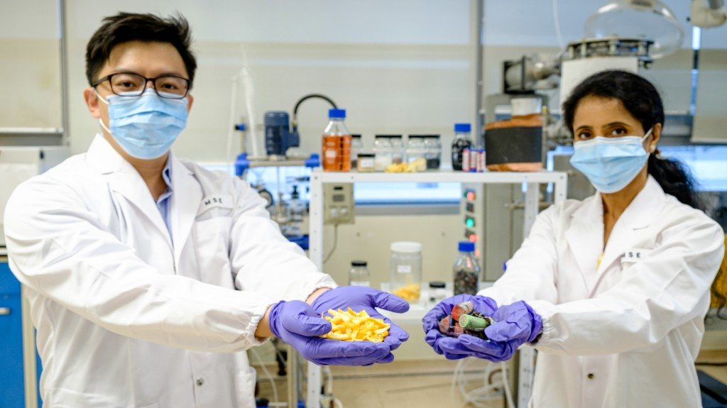 two lab workers hold out orange peels and metals in their hands