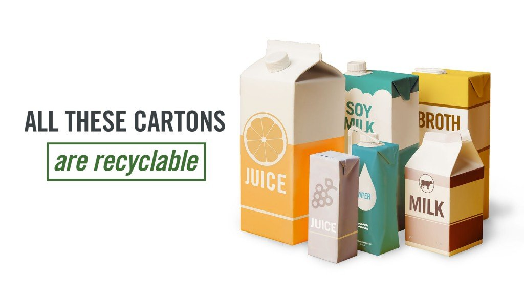 series of different kind cartons products