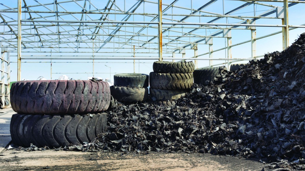 Piles of shredded tires along with tires