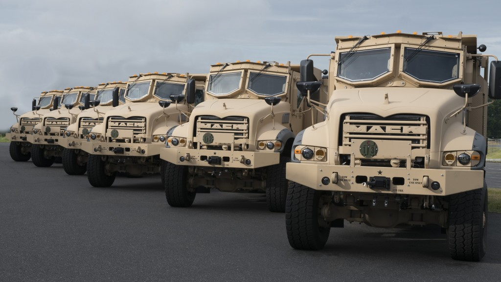 six armored Mack Granite-based M917A3 Heavy Dump Trucks