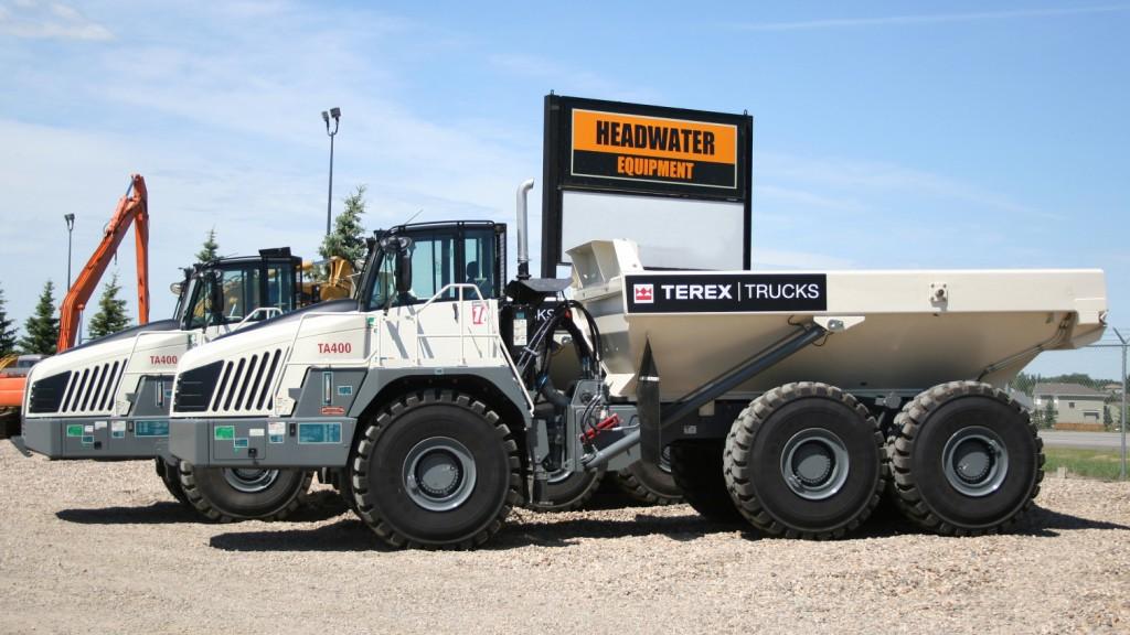 Terex Trucks at headwater equipment dealership