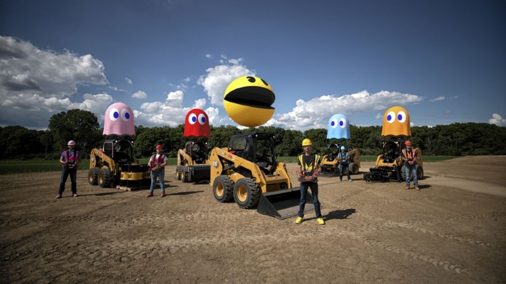 Watch Caterpillar use remote-controlled skid steers to play a life-sized game of PAC-MAN