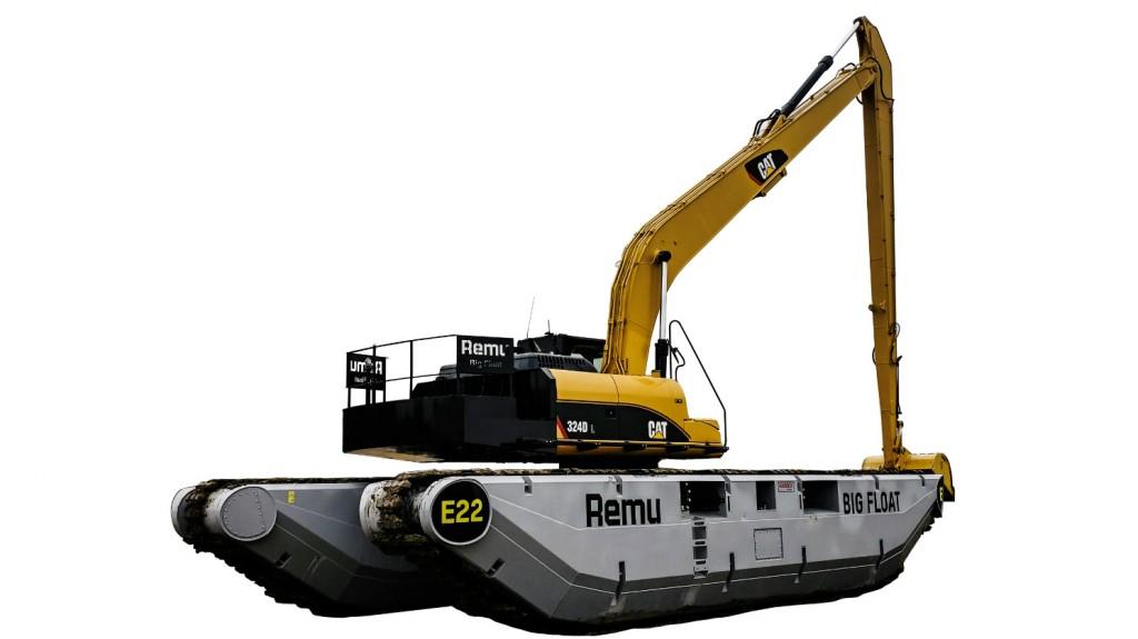 Big Float pontoon undercarriage turns standard excavators into amphibious excavators