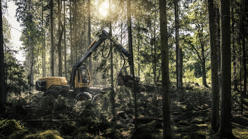 harvester fitted with a volvo penta d8 engine in the forest