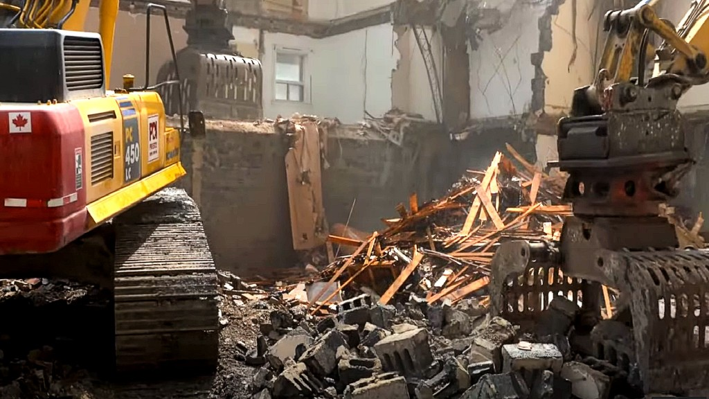 Watch: Priestly Demolition gives jobsite tour of two-building teardown in downtown Toronto