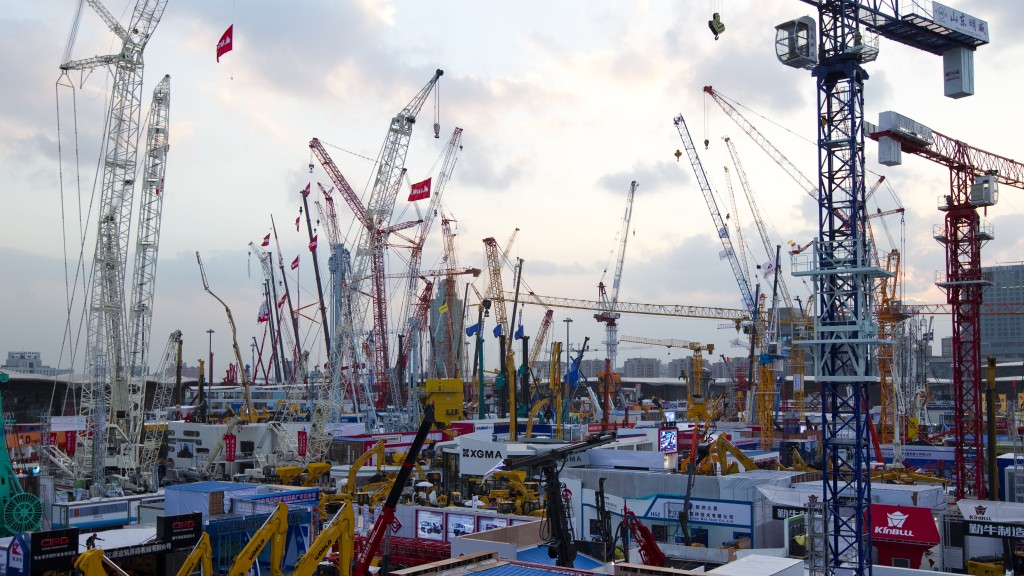 trade fair in china with construction machines on display
