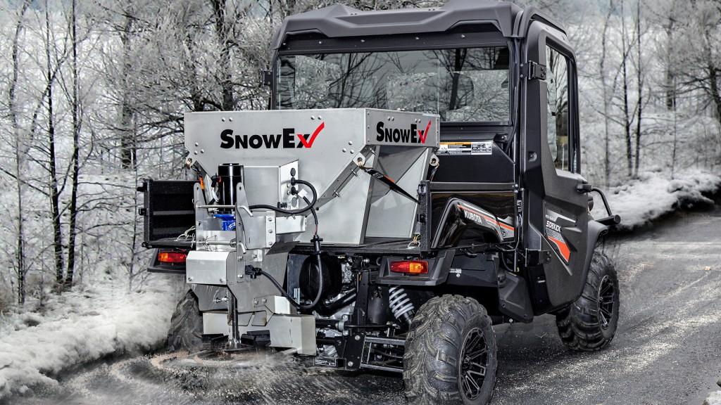 SnowEx stainless steel hopper on the back of a UTV