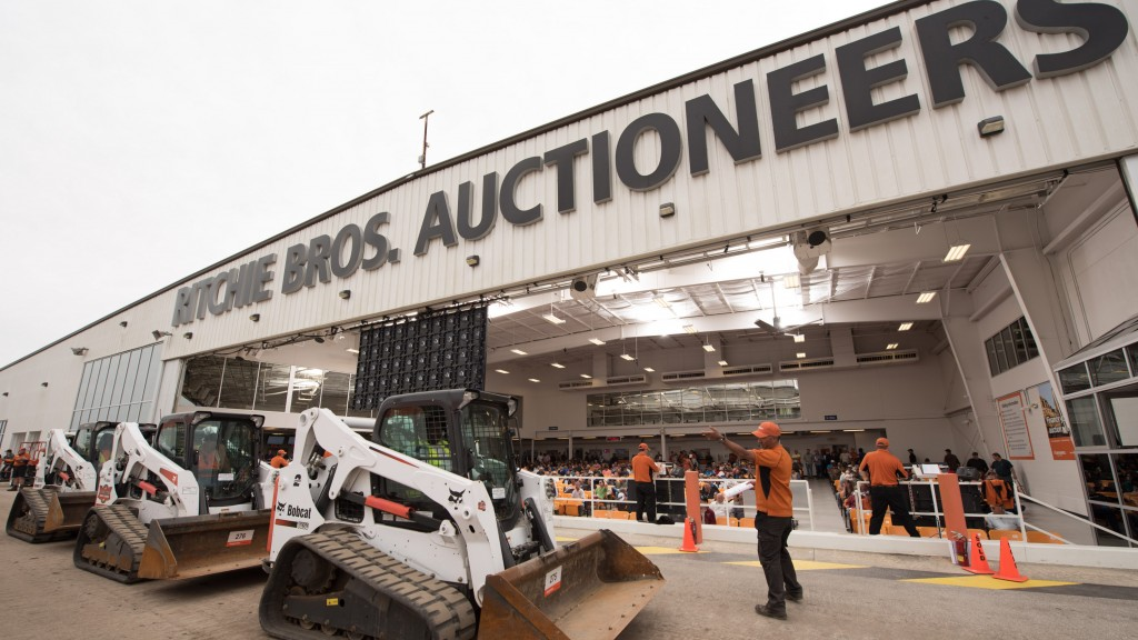 Ritchie Bros auction facility with machines out front