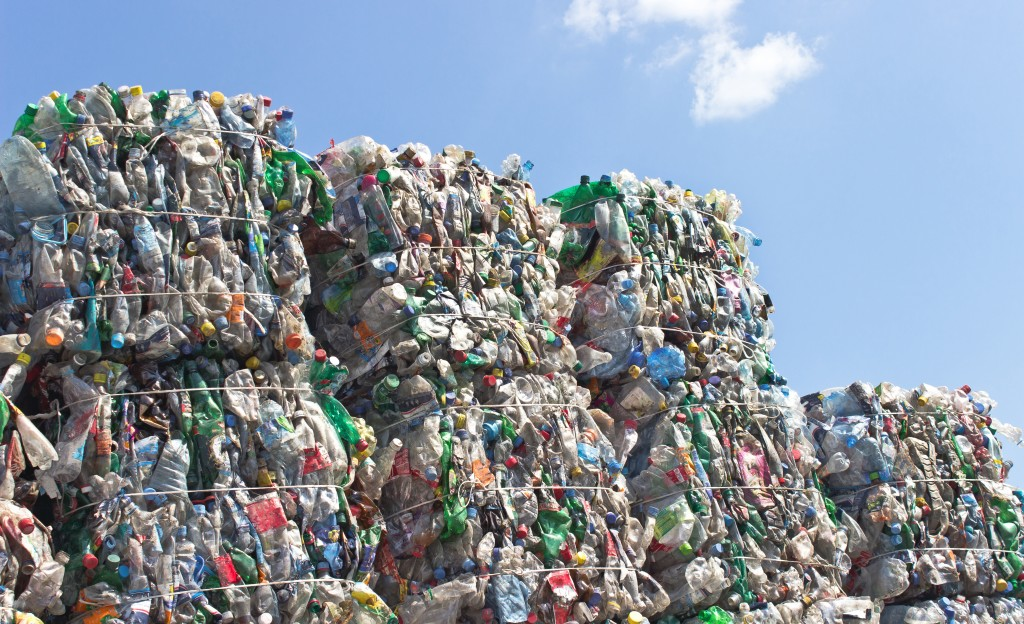 stacks of plastics recycling tied together in chunks
