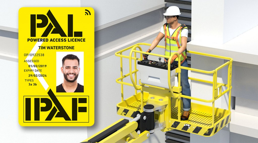 Powered Access Licence (PAL) Card alongside a man on a mobile elevating work platform