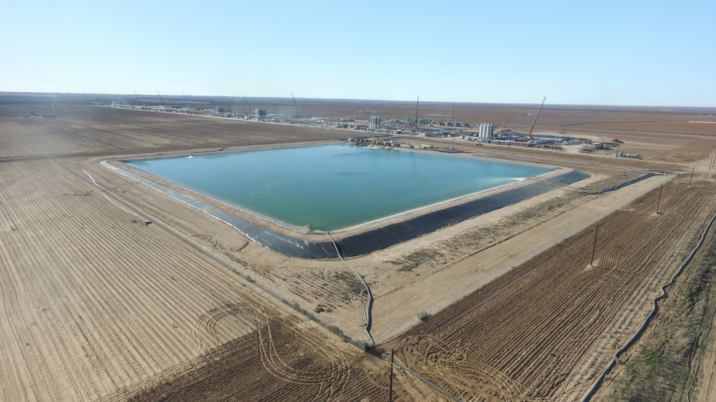 containment pond at fracking site