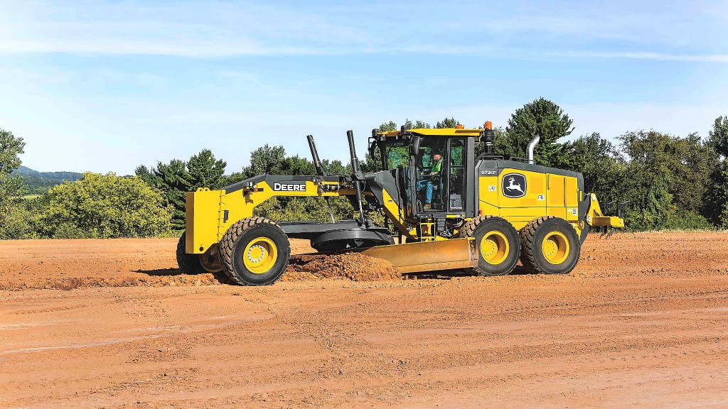 John Deere expands the capabilities of its Grade Pro (GP)-Series of motor graders with new technology, including two industry-exclusive features, Blade Stow and Auto-Gain for cross slope.