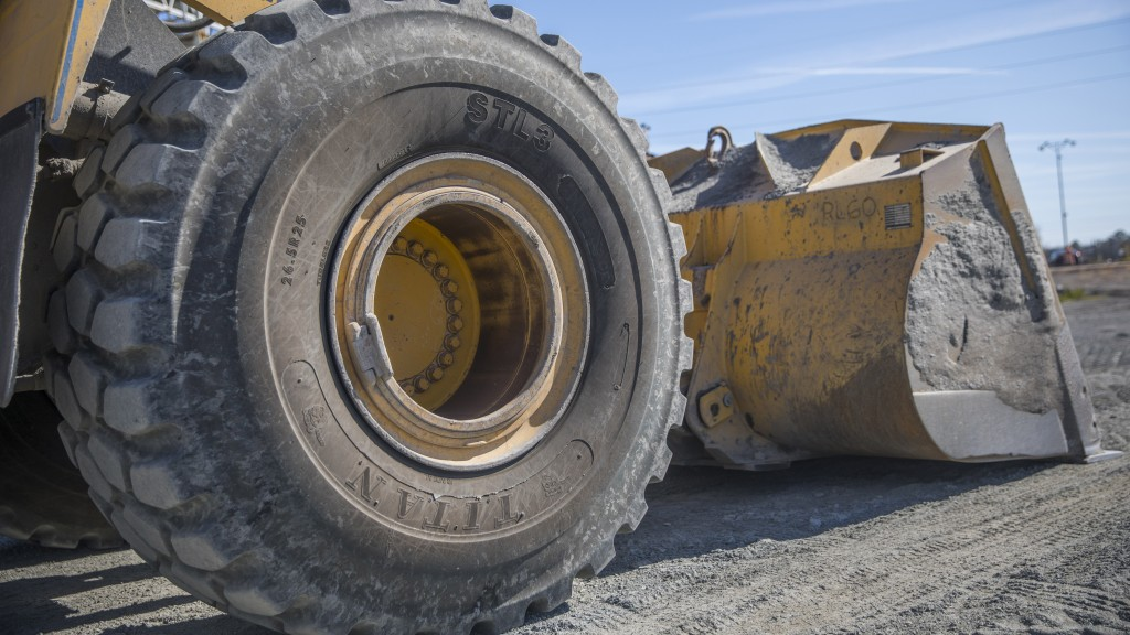 The Titan STL3 tire on a wheel loader