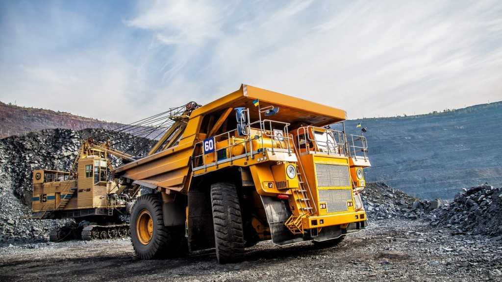 mining truck at work in an open-pit mine