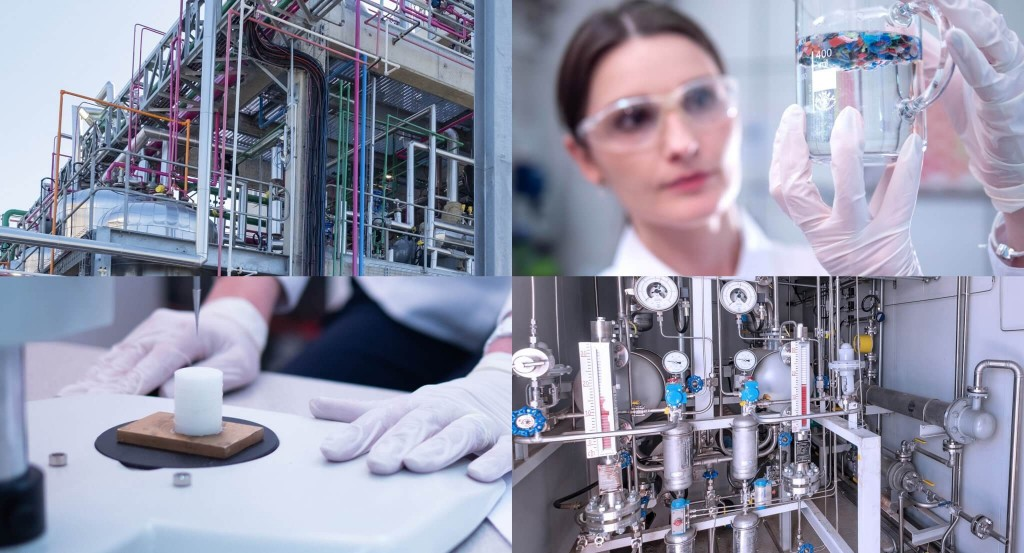 collage of chemical processing photos