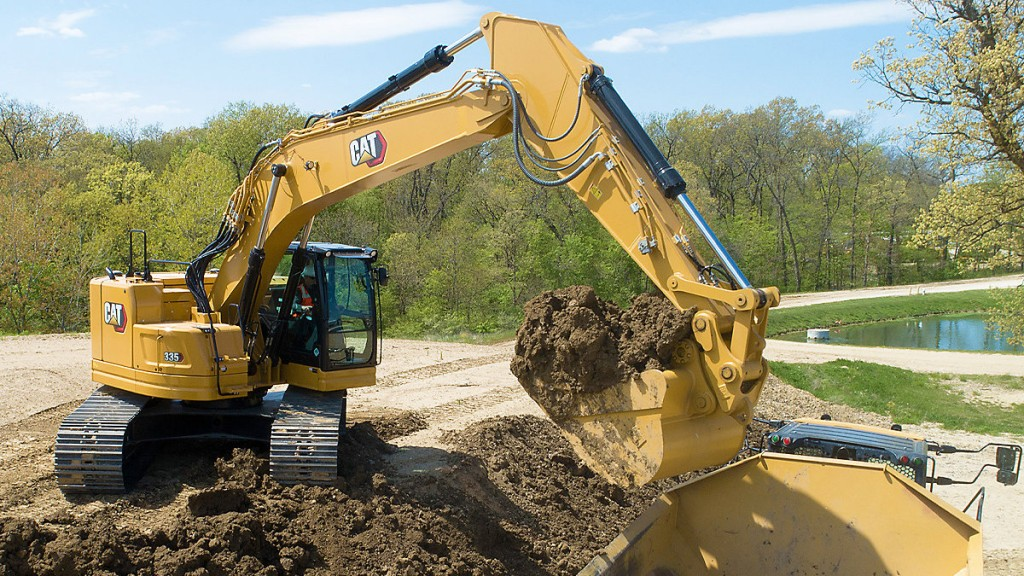 New compact radius Cat® 335 Next Gen excavator on a worksite