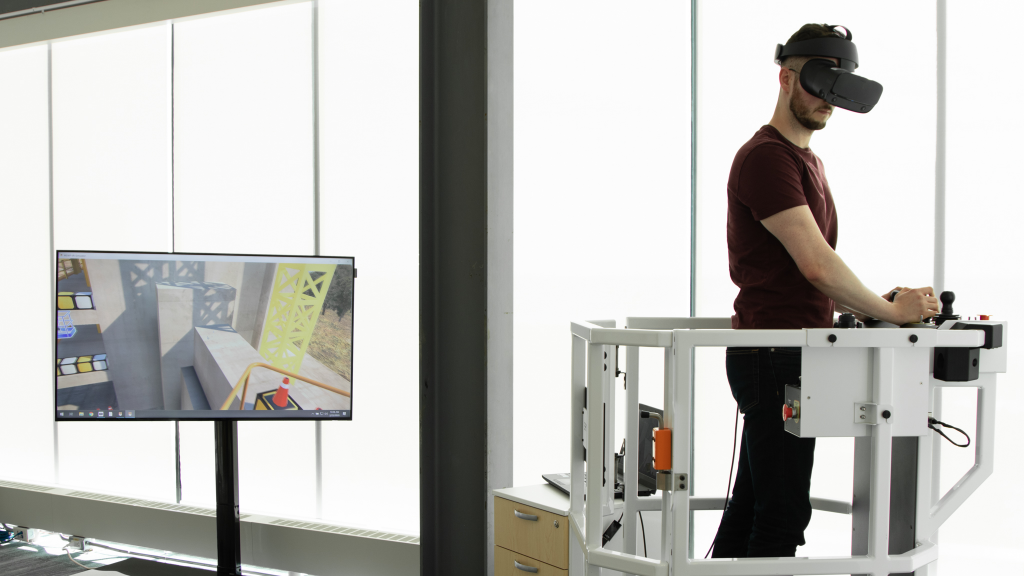 man with a Serious Labs VR set on does training exercise