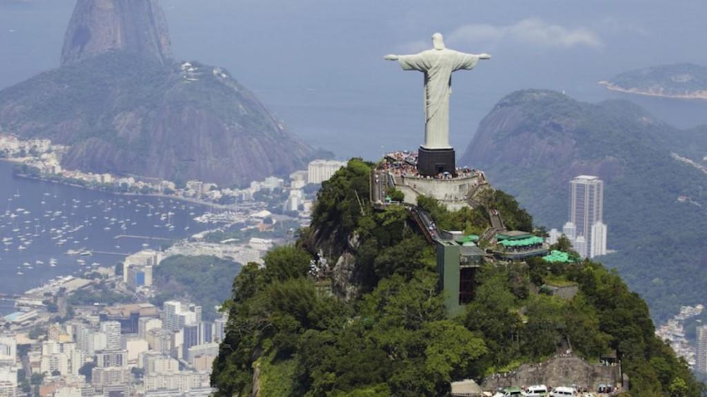 rio de Janeiro landmark statue on a mountaintop
