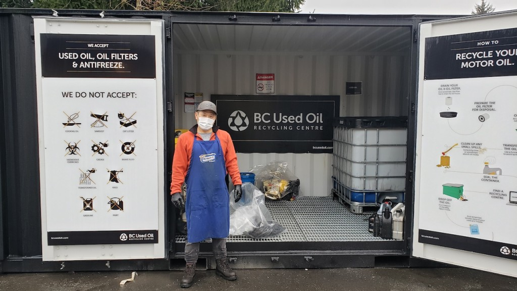 Sung Kim at the Aldergrove used oil recycling center