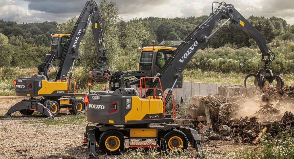 two Volvo CE material handlers