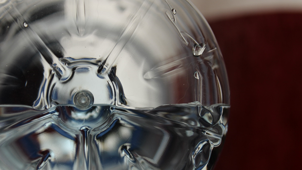 plastic recyclable bottle closeup end view