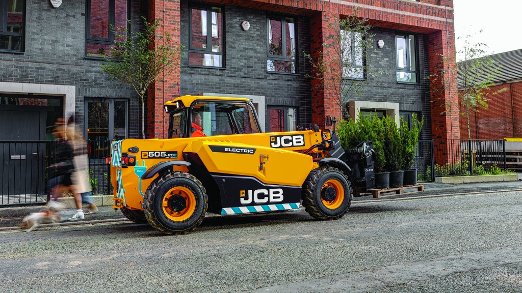 JCB electric loadall tele handler in front of a building