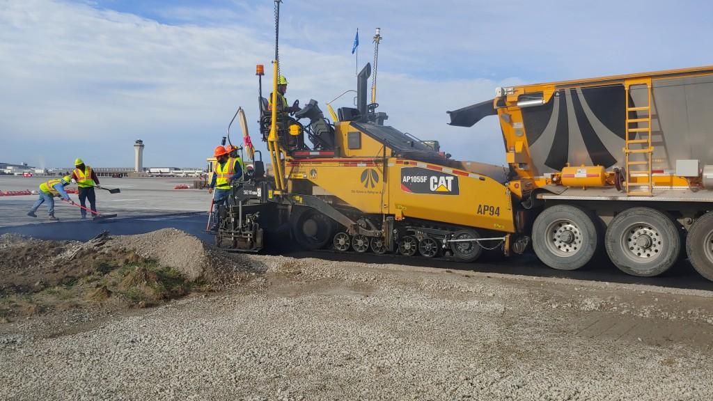 Cat asphalt paver in action