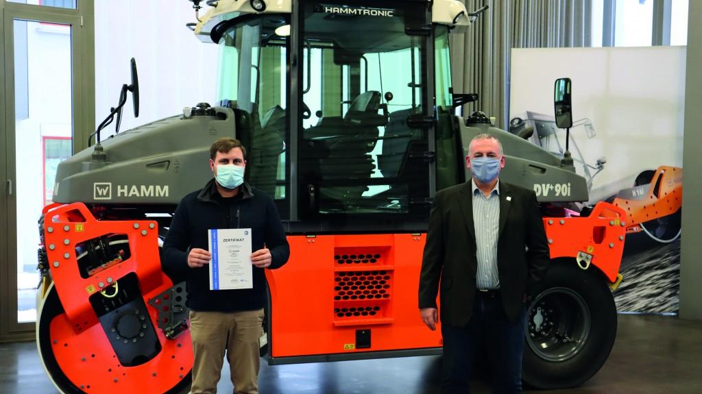 Environmental management representative Marcus Rahm (left) with plant manager Dirk Pressgott.