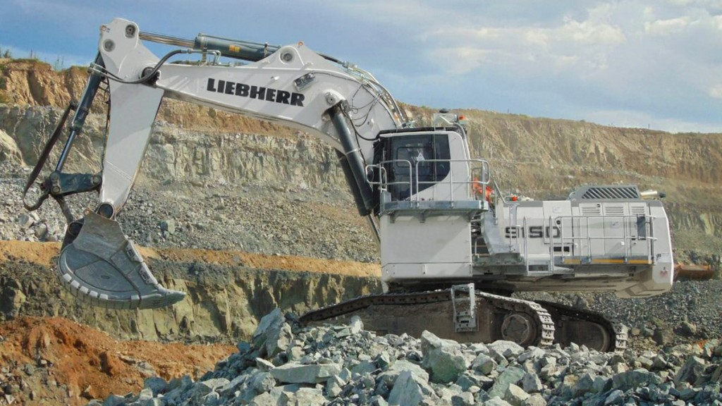 The Liebherr R 9150B E on a mining site