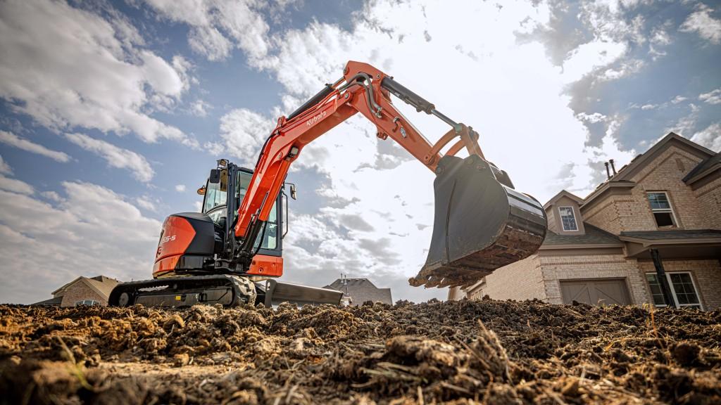 Kubota U55-5 Compact Excavator  on a worksite