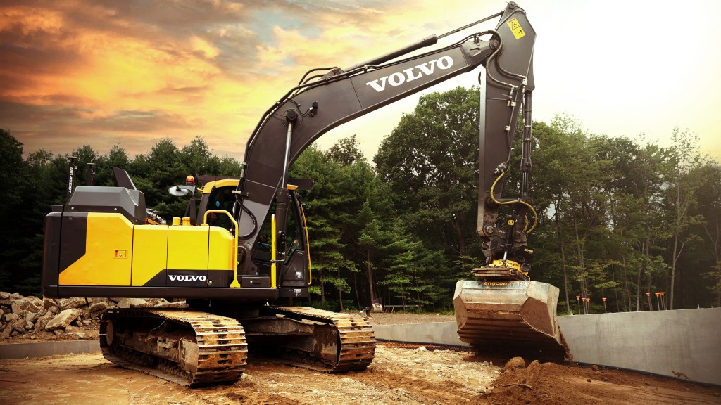 volvo excavator with dig assist on a worksite