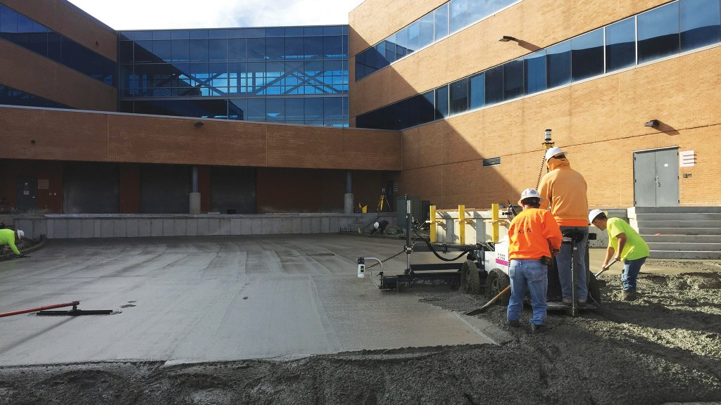 Large slabs can be paved to closer tolerances with screeds like Somero's S-640 working with total stations.