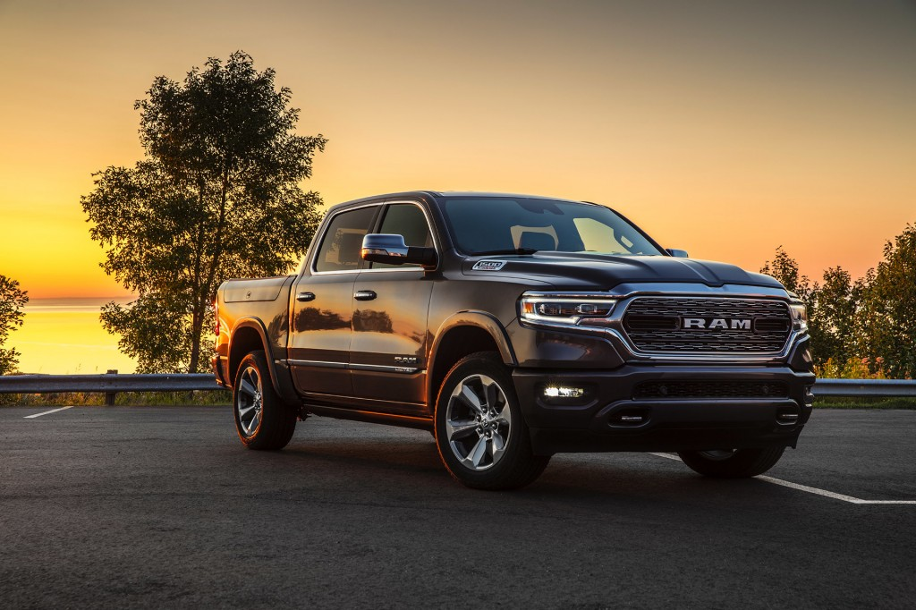 The 2021 Ram 1500 pickup truck at sunset