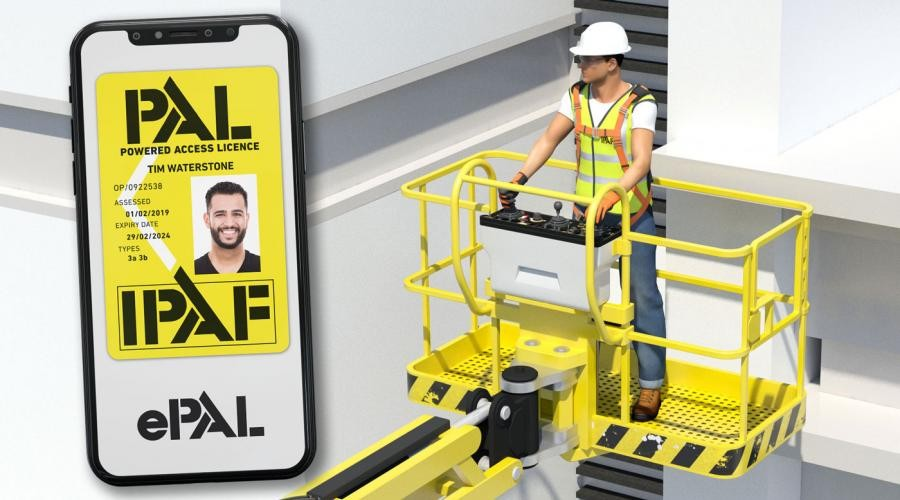 IPAF ePAL ID tag with a man on powered access platform