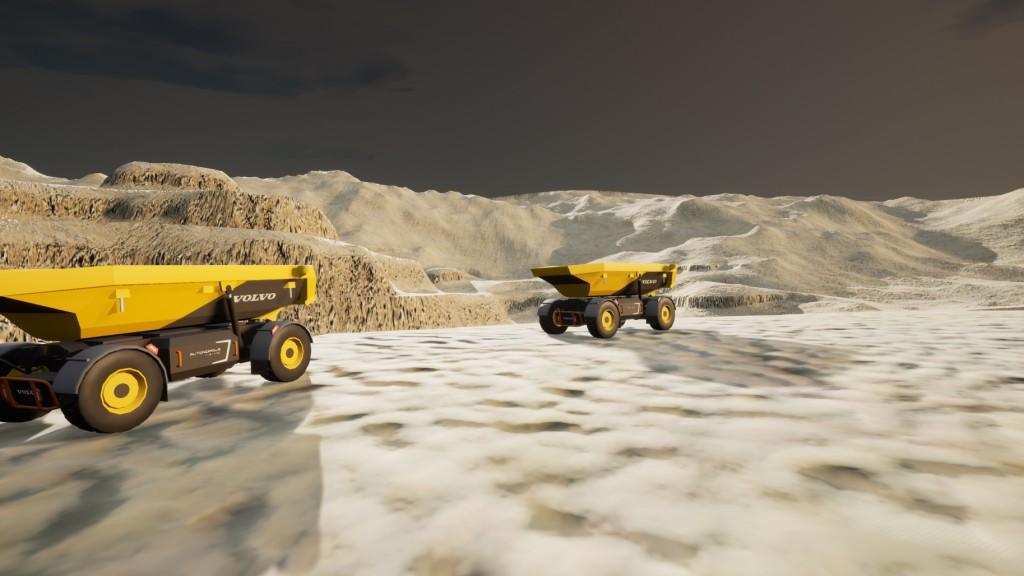 Volvo Autonomous vehicles on a moon-like surface