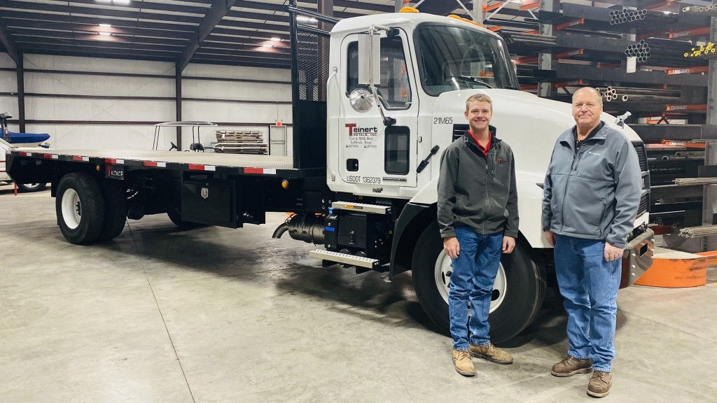 tso men stand in front mack truck