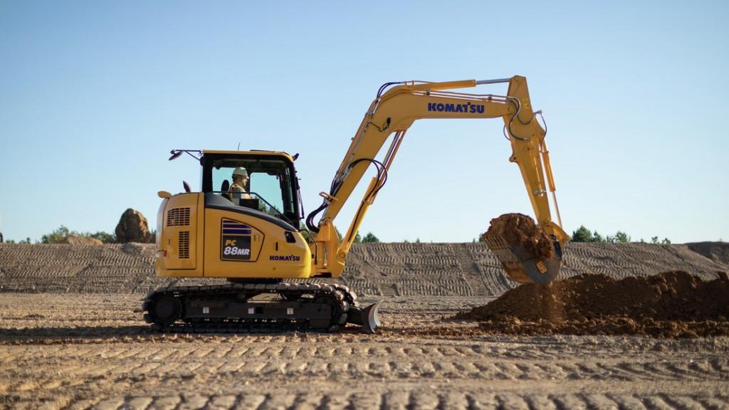Komatsu PC88MR-11 excavator on a worksite