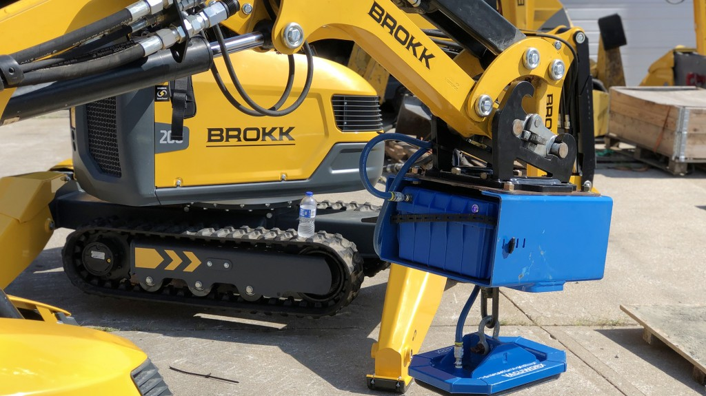 Brokk machine with a Vacuworx PHD Portable Vacuum Lifting System