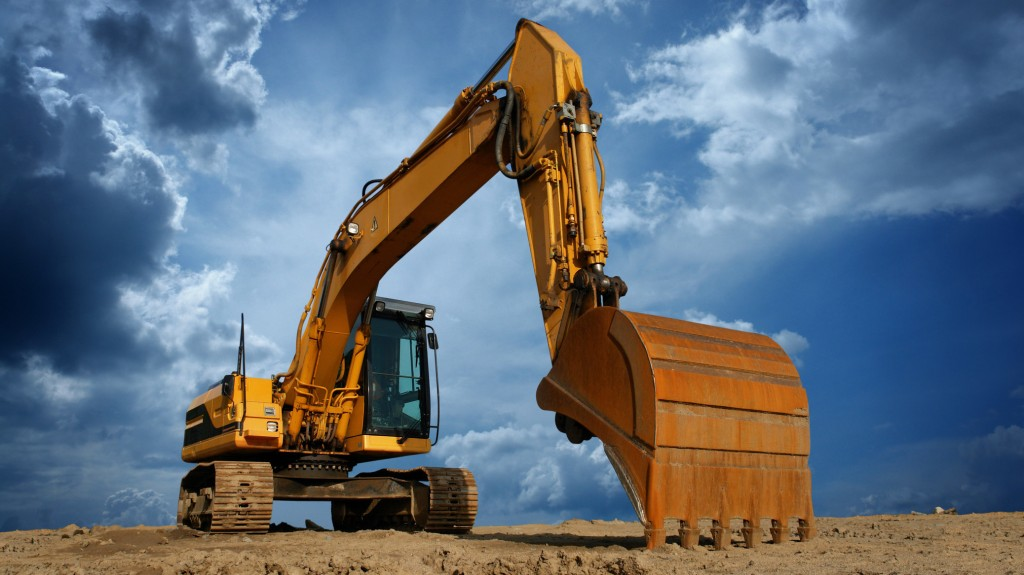 an excavator at work